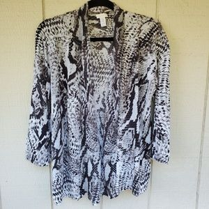 Chicos open front cardigan snake skin sweater 3-XL